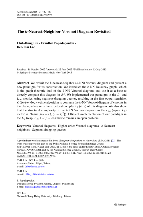 small resolution of  pdf a semidynamic construction of higher order voronoi diagrams and its randomized analysis
