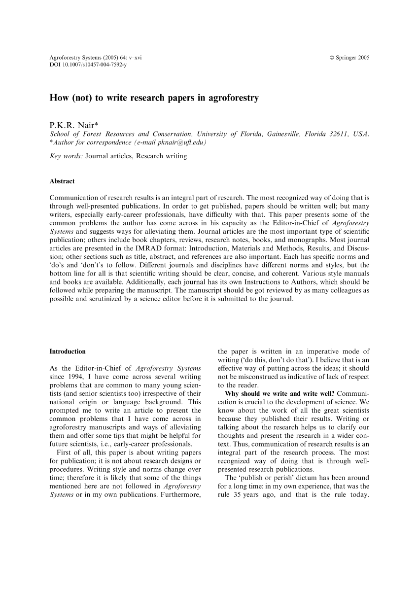 PDF How Not To Write Research Papers In Agroforestry