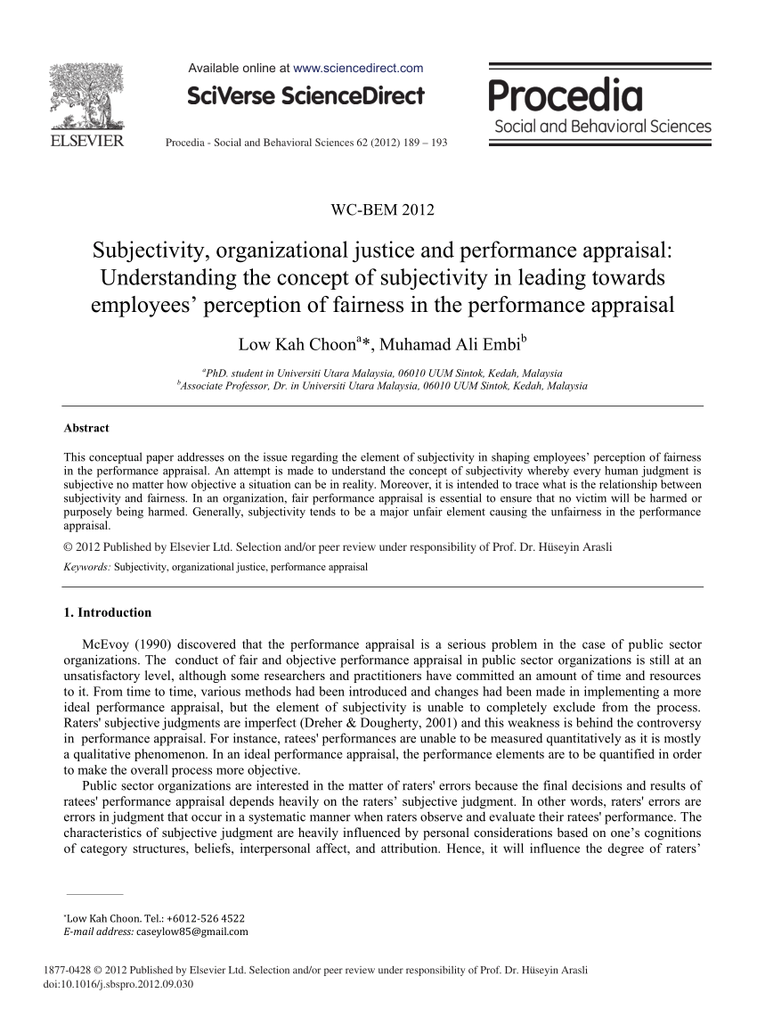 PDF Subjectivity Organizational Justice And Performance Appraisal