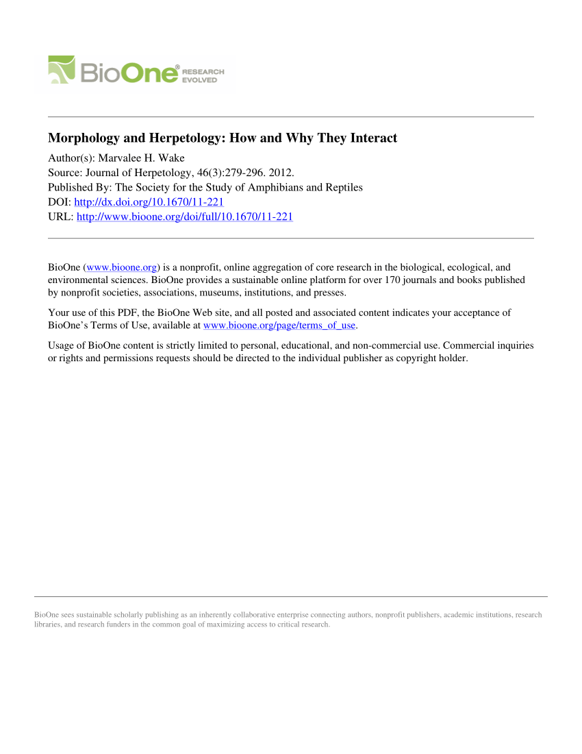 PDF Morphology And Herpetology How And Why They Interact