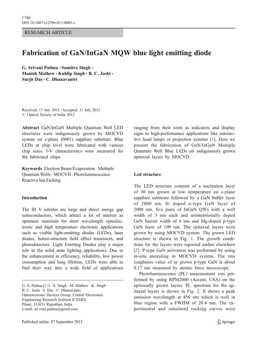 hight resolution of  pdf fabrication of gan ingan mqw blue light emitting diode