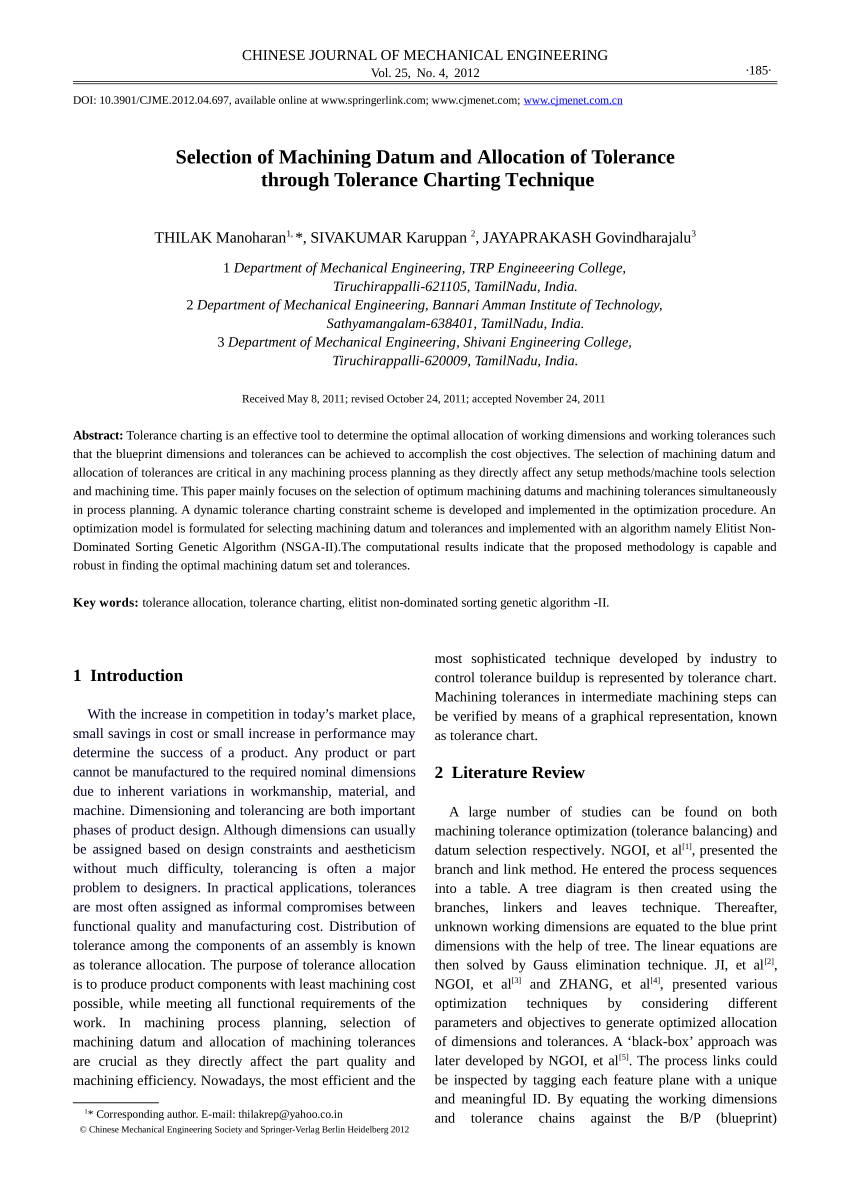 hight resolution of  pdf selection of machining datum and allocation of tolerance through tolerance charting technique