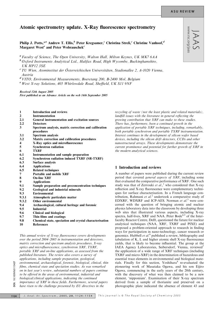 (PDF) Atomic spectrometry update. X-Ray fluorescence