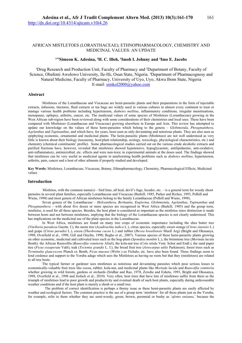 pdf african mistletoes loranthaceae