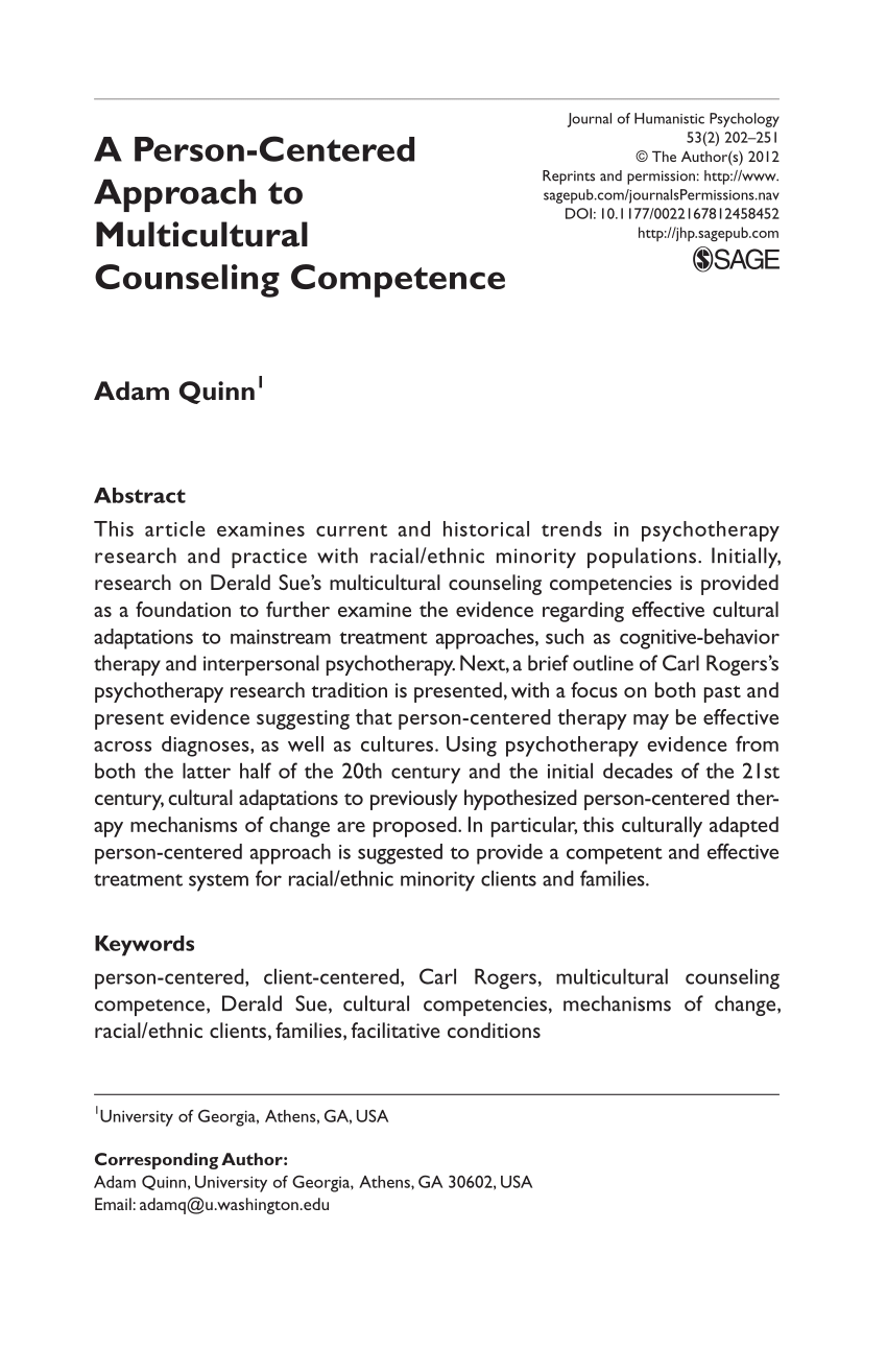 PDF A Person Centered Approach To Multicultural Counseling Competence