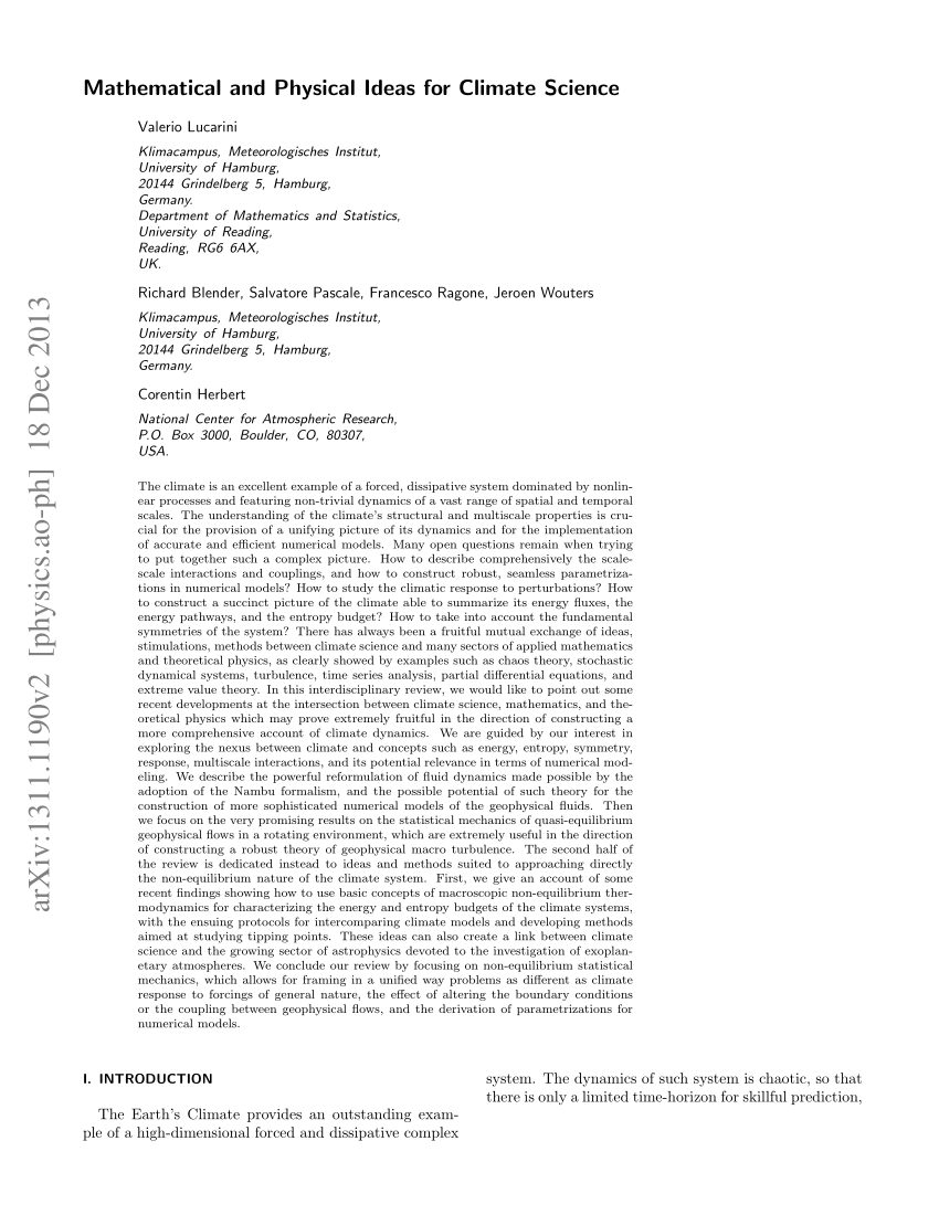 (PDF) Mathematical and Physical Ideas for Climate Science