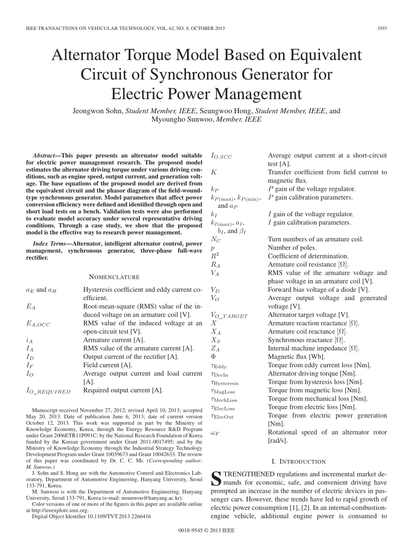 hight resolution of  pdf alternator torque model based on equivalent circuit of synchronous generator for electric power management