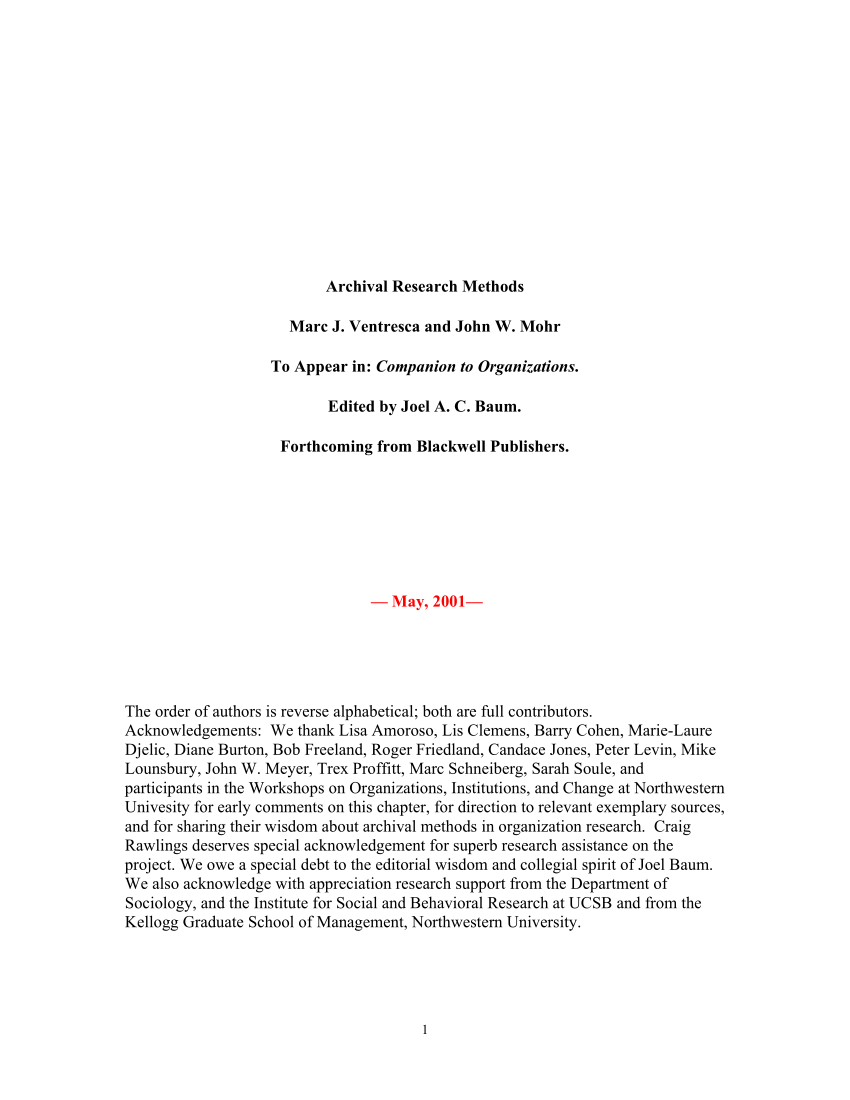 PDF Archival Research Methods