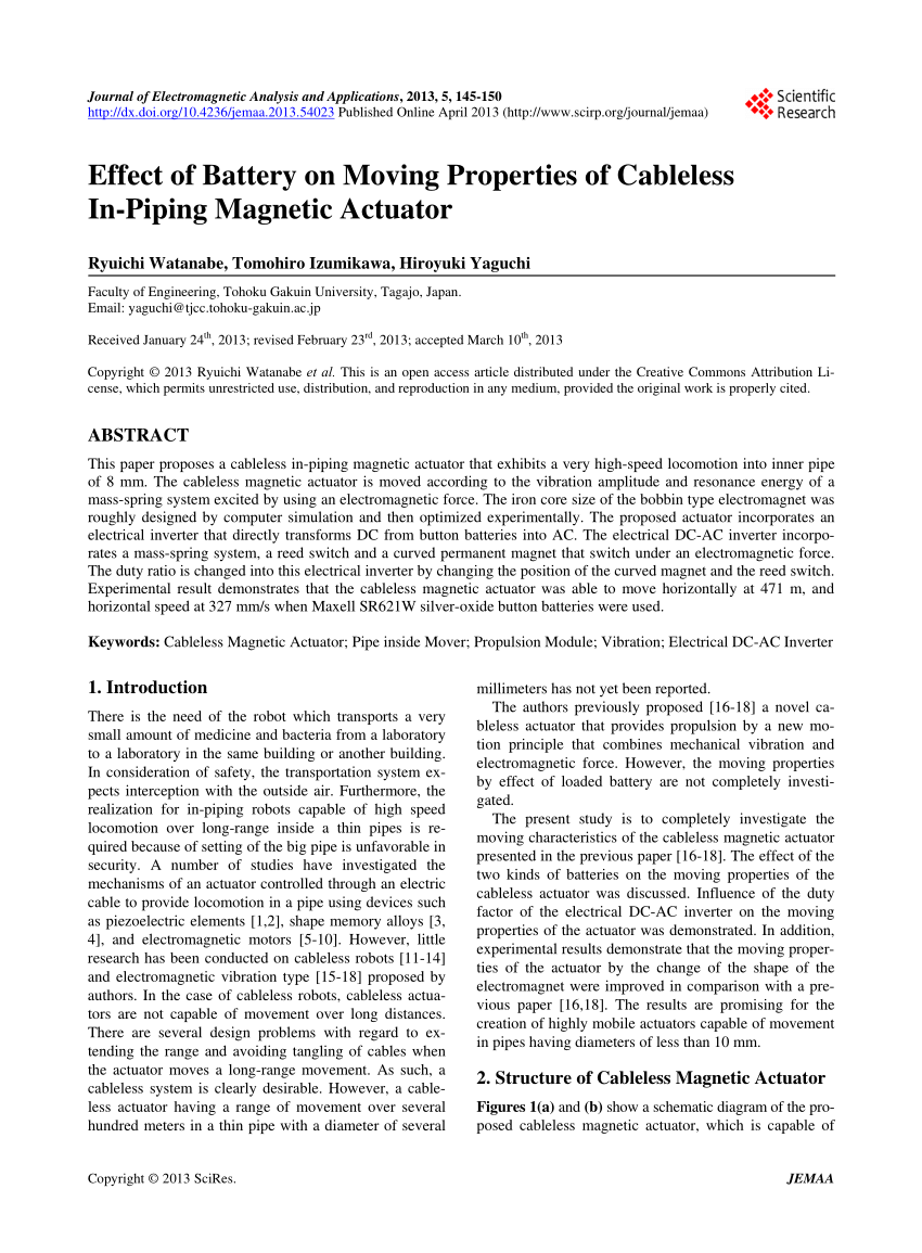 medium resolution of  pdf effect of battery on moving properties of cableless in piping magnetic actuator