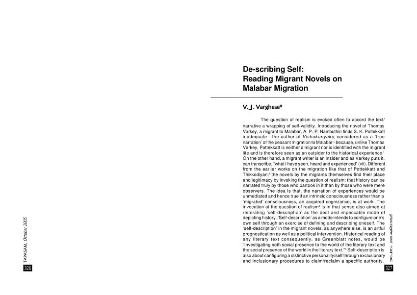 (PDF) De-scribing Self: Reading Migrant Novels on Malabar