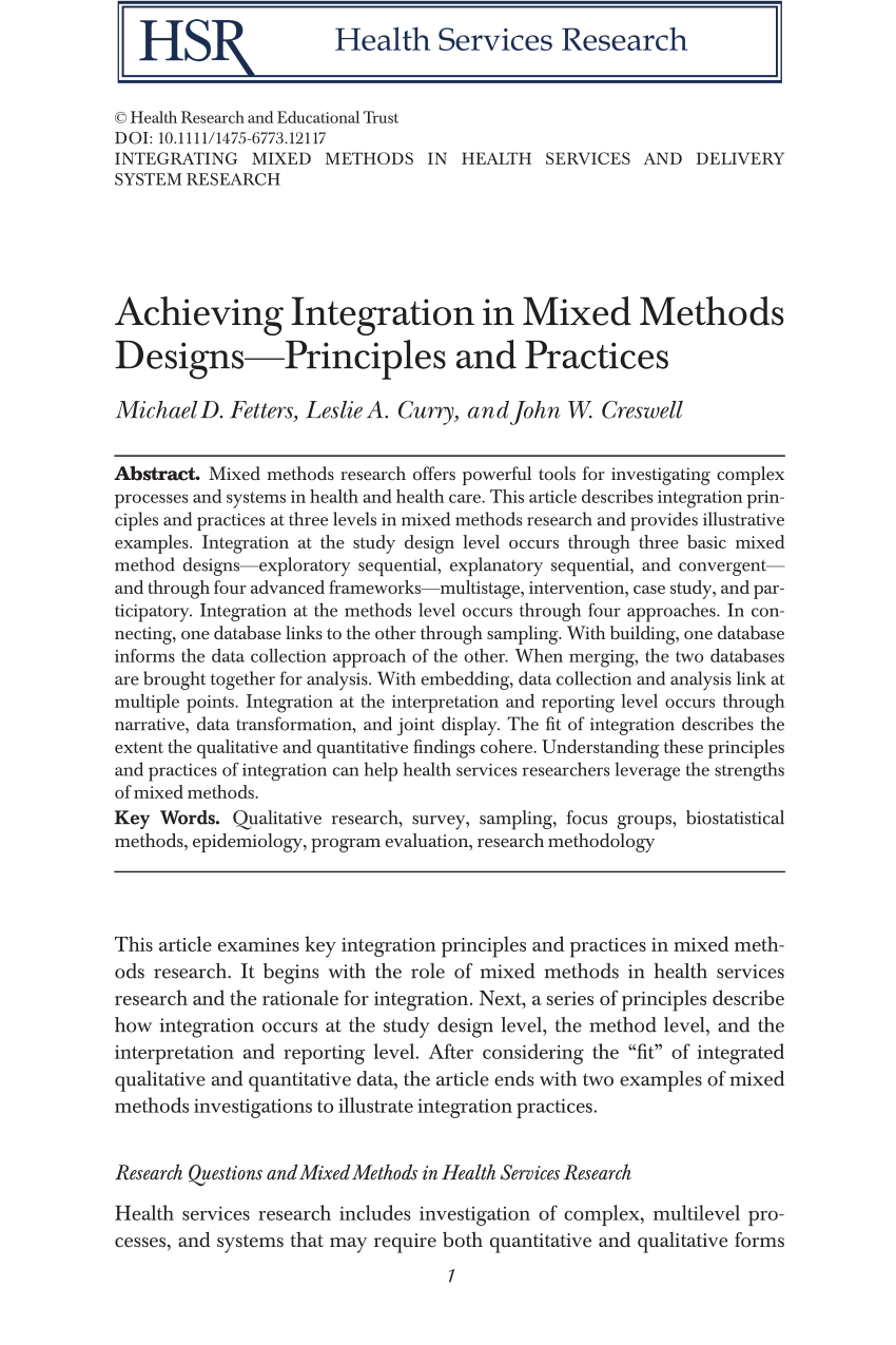 PDF Achieving Integration In Mixed Methods Designs Principles And