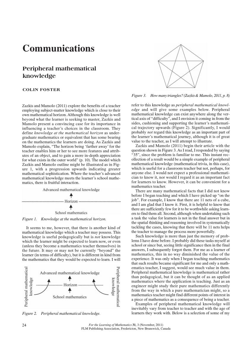 (PDF) Teachers' advanced mathematical knowledge for