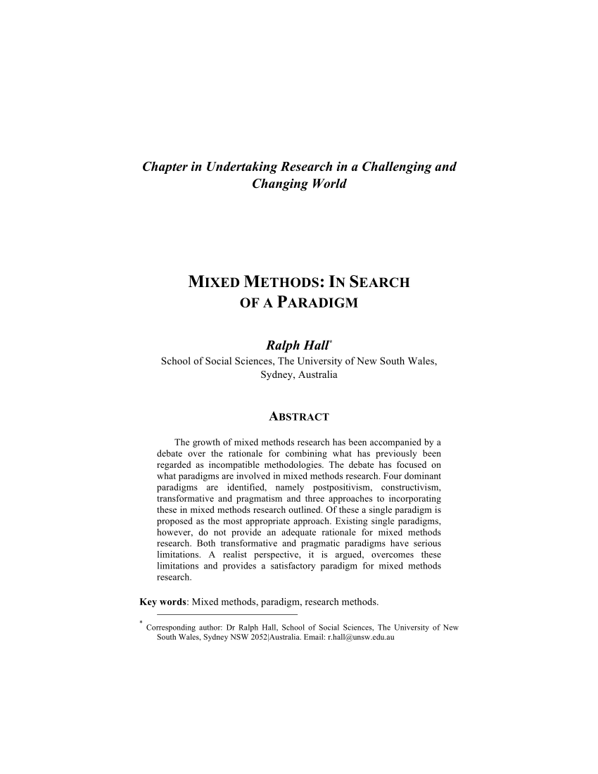 PDF Mixed Methods In Search Of A Paradigm