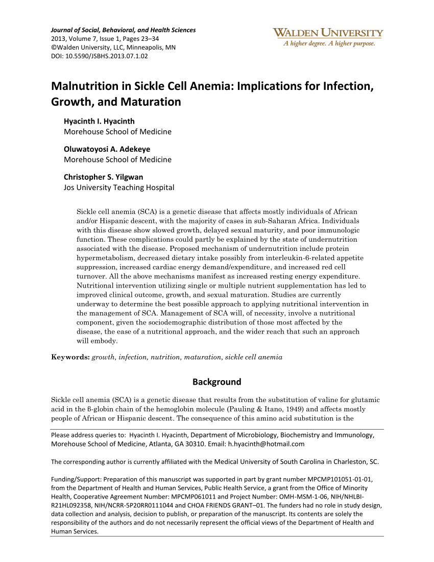 Malnutrition In Sickle Cell Anemia PDF Download Available