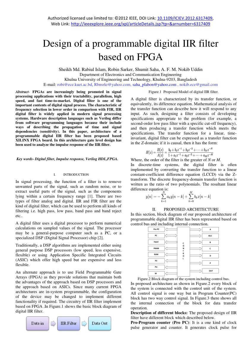 medium resolution of  pdf design of a programmable digital iir filter based on fpga