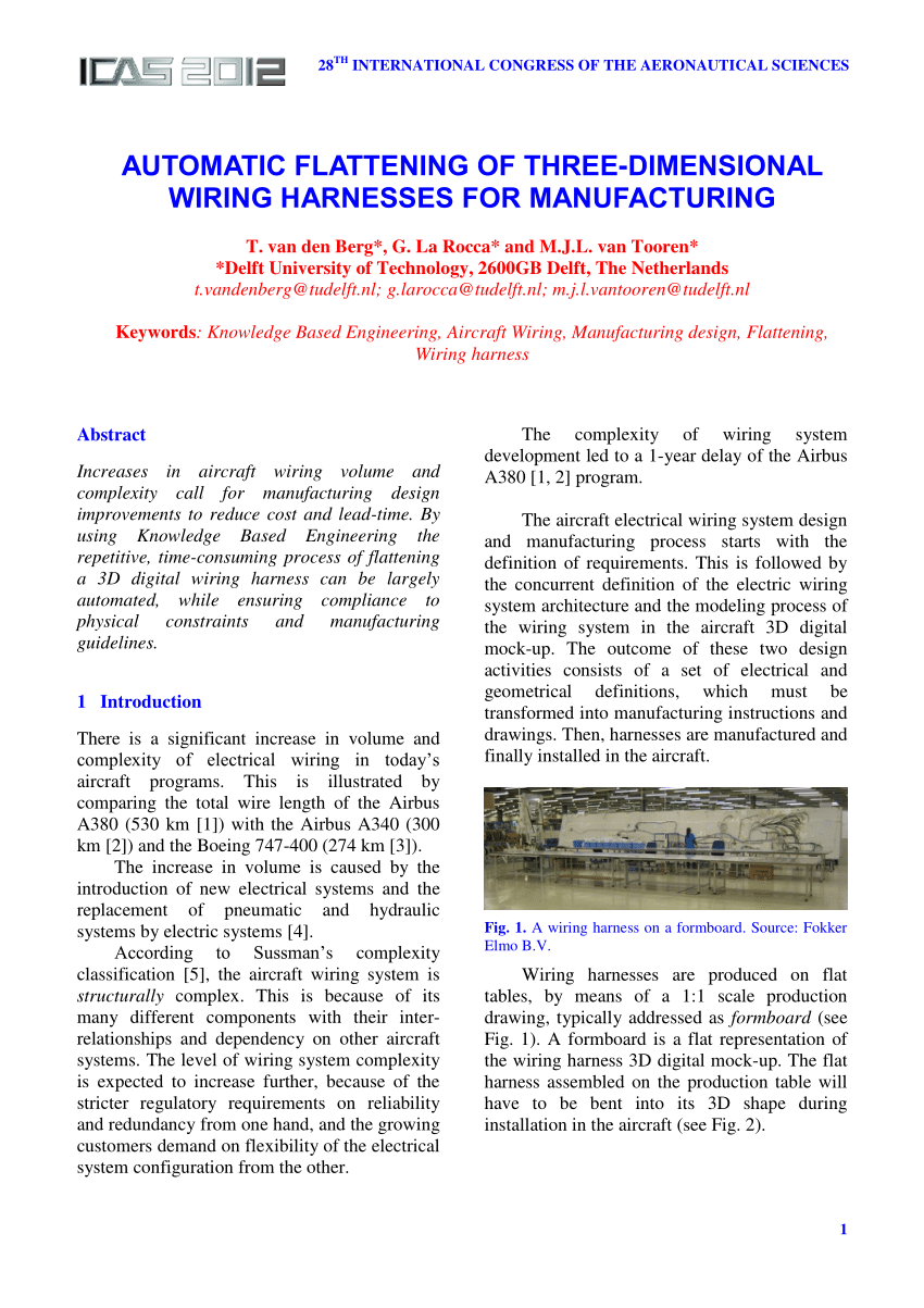 hight resolution of  pdf automatic flattening of three dimensional wiring harnesses for manufacturing