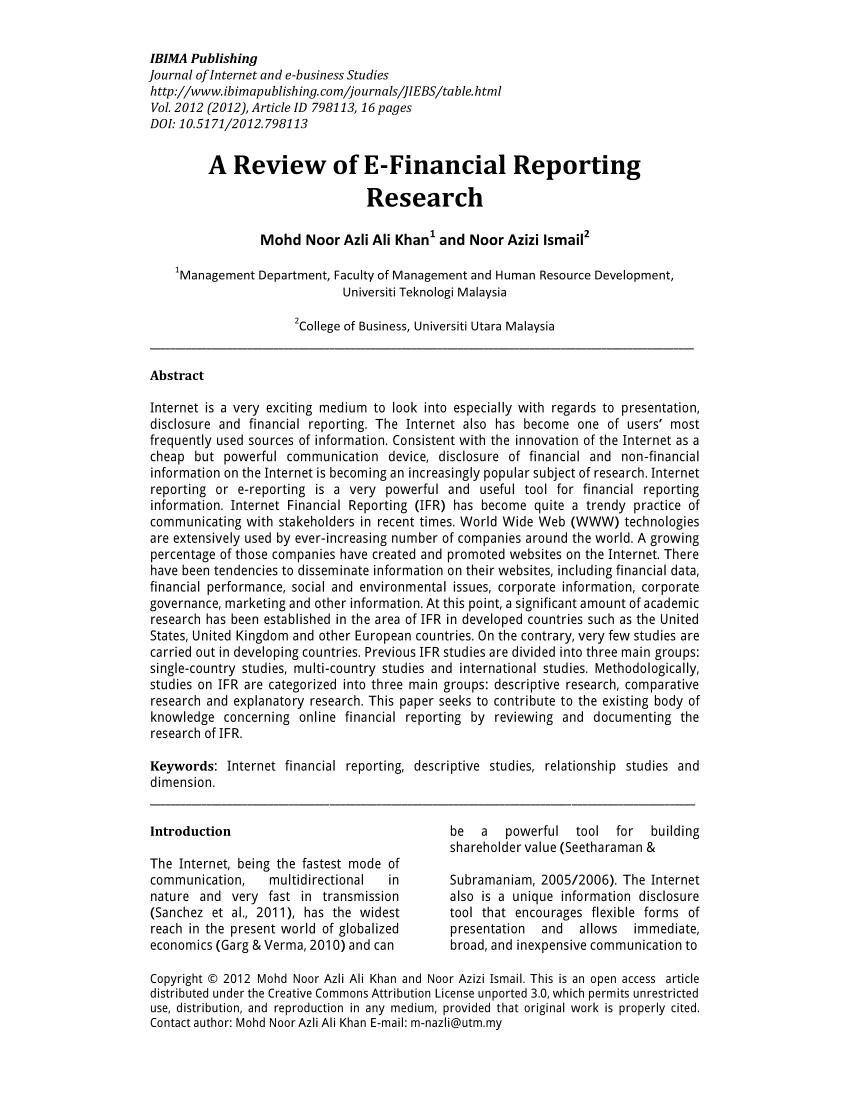 PDF A Review Of E Financial Reporting Research