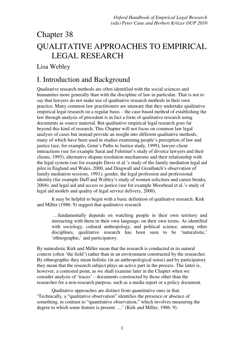 PDF Chapter 38 Qualitative Approaches To Empirical Legal Research