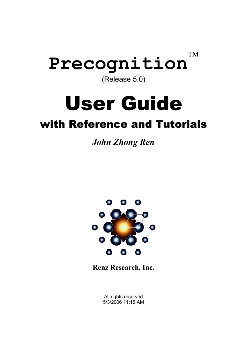 (PDF) Precognition User Guide with Reference and Tutorials