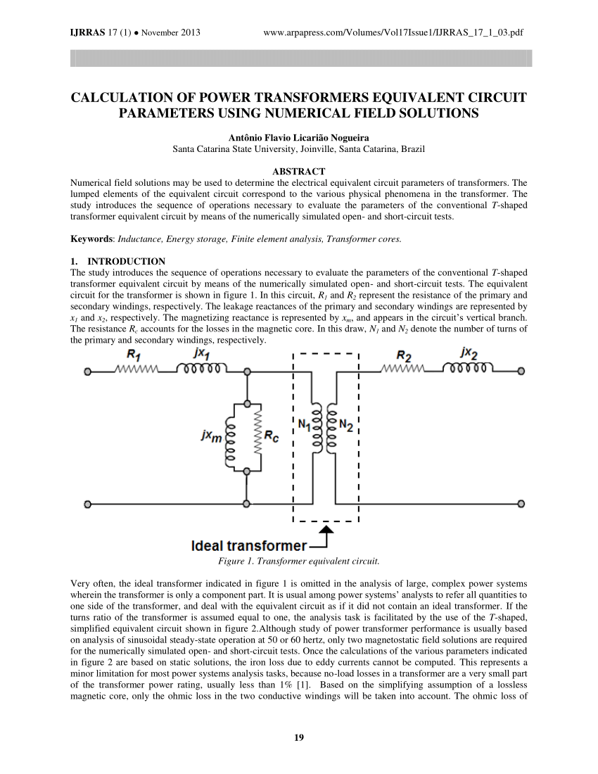 hight resolution of  pdf determination of equivalent electric circuit parameters of single phase power transformers with different number of winding turns