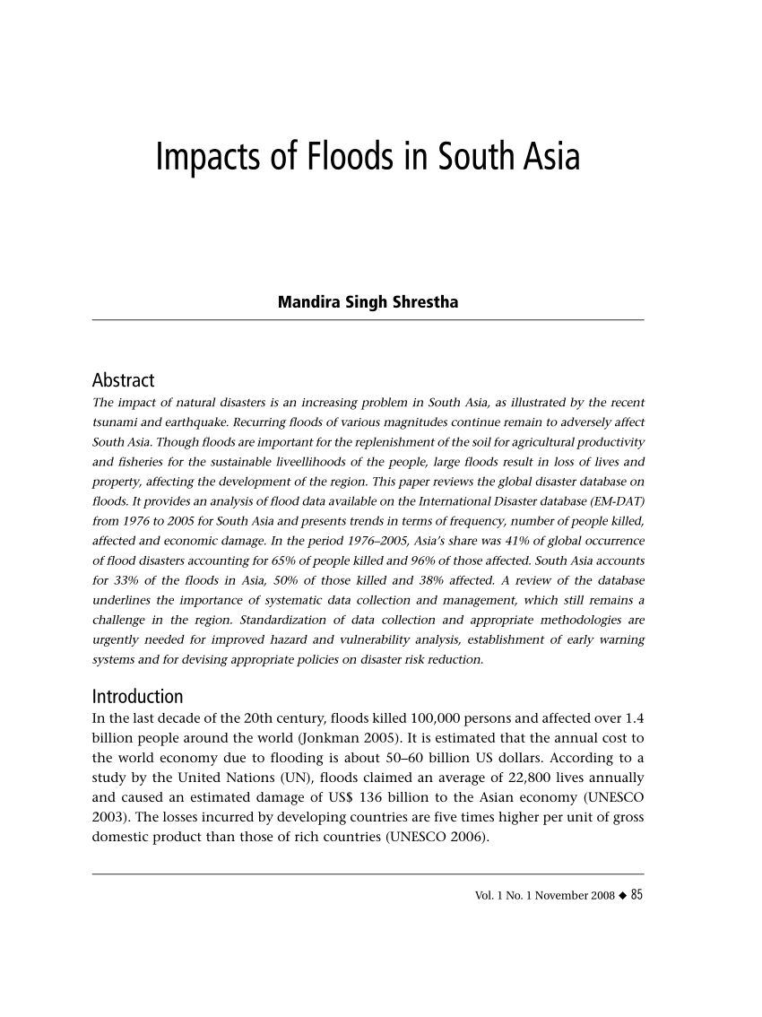 PDF Impacts Of Flood In South Asia