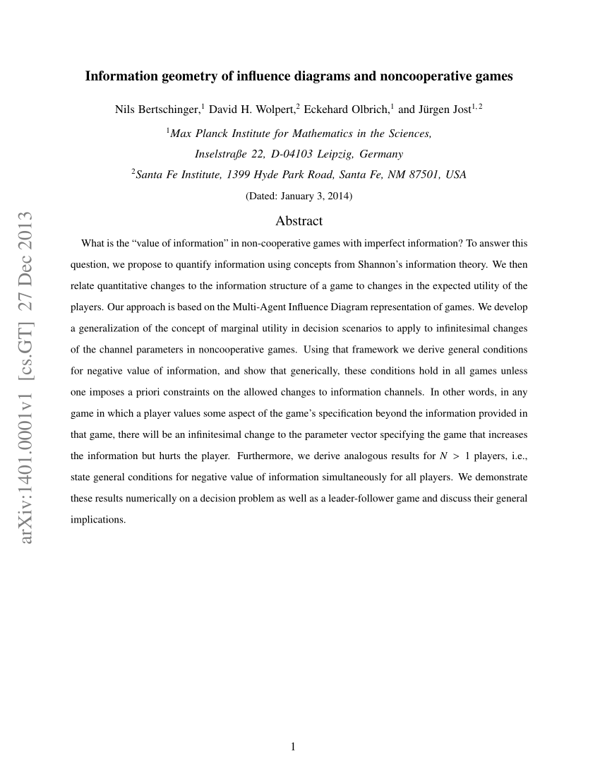 medium resolution of  pdf information geometry of influence diagrams and noncooperative games