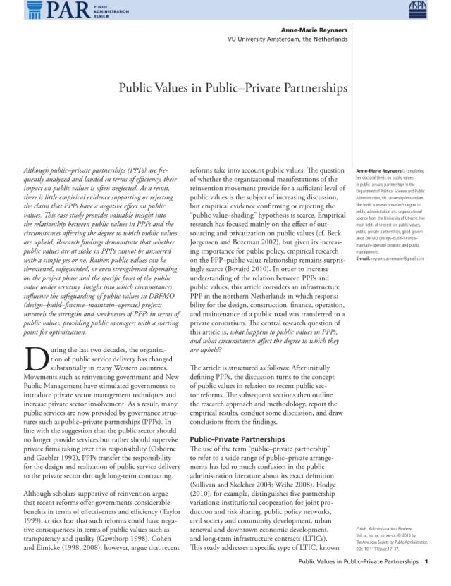 PDF) Public Values in Public–Private Partnerships
