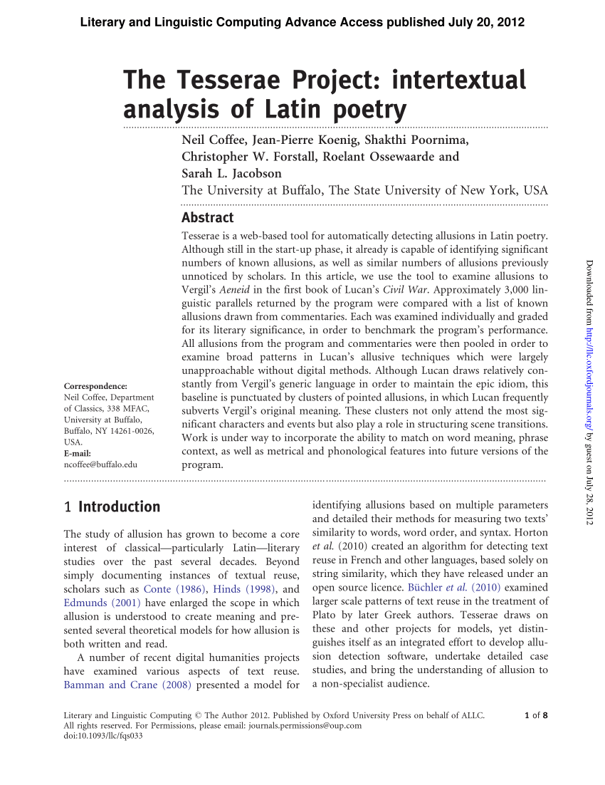 PDF The Tesserae Project Intertextual Analysis Of Latin Poetry
