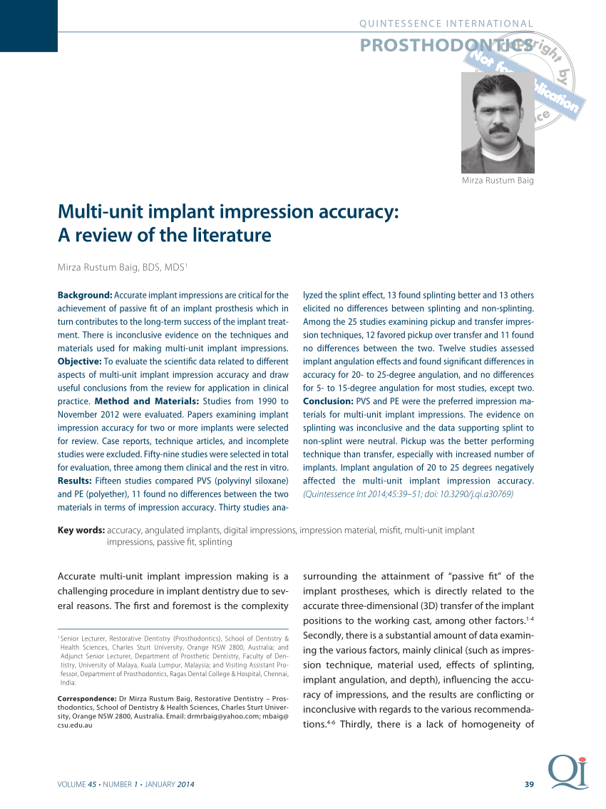 pdf multi unit implant impression accuracy a review of the literature