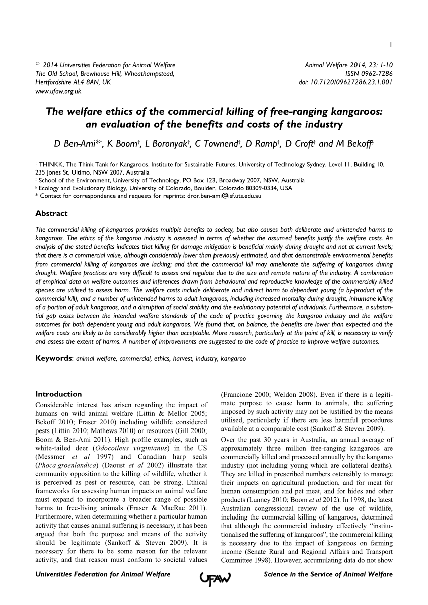 medium resolution of  pdf the welfare ethics of the commercial killing of free ranging kangaroos an evaluation of the benefits and costs of the industry