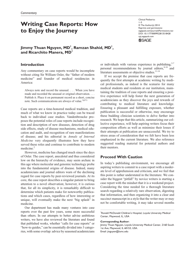 PDF) Writing Case Reports