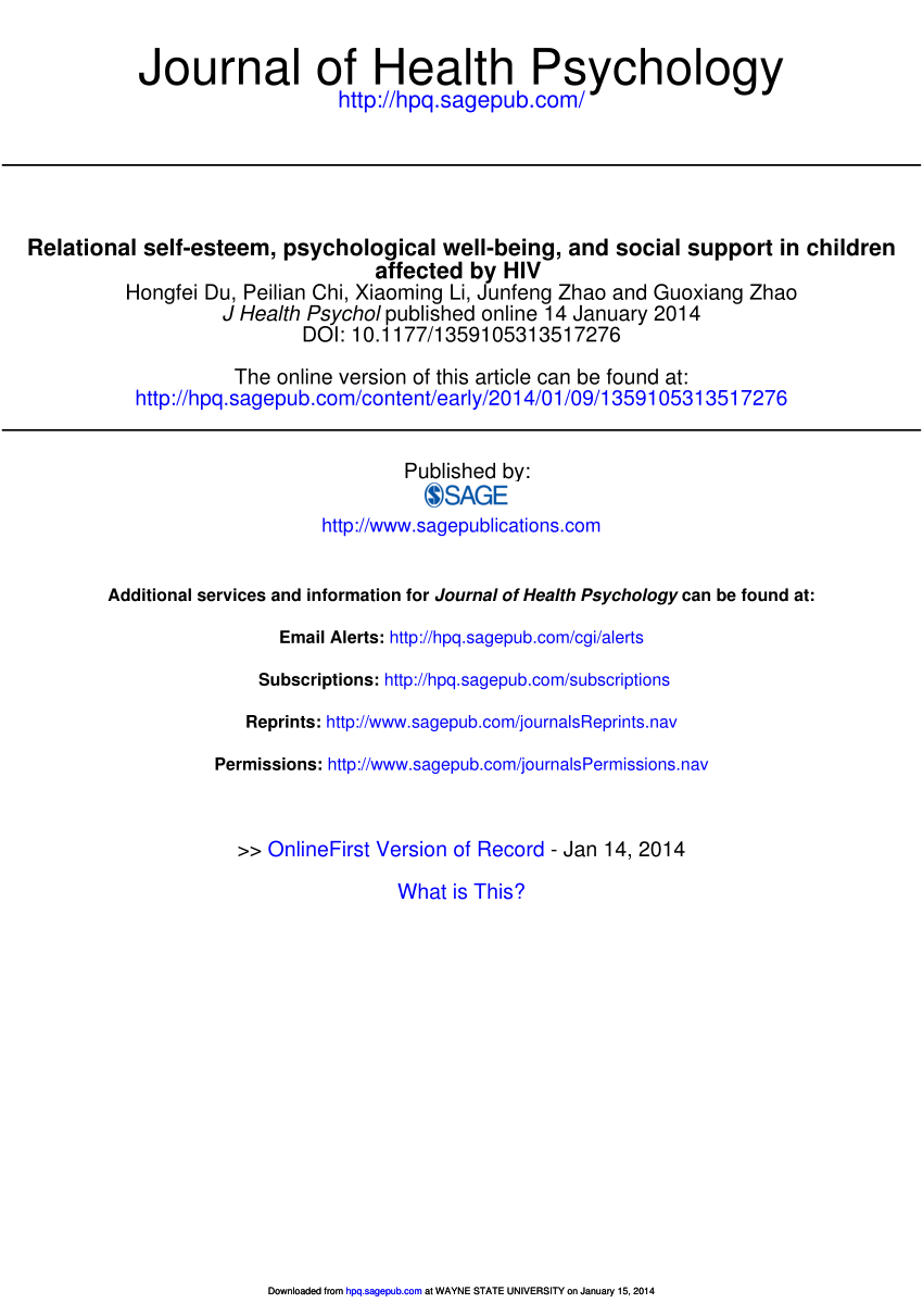 medium resolution of  pdf relational self esteem psychological well being and social support in children affected by hiv