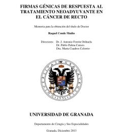 pdf firmas g nicas de respuesta al tratamiento neoadyuvante en el c ncer de recto doctoral thesis r conde university of granada 2014  [ 850 x 1203 Pixel ]