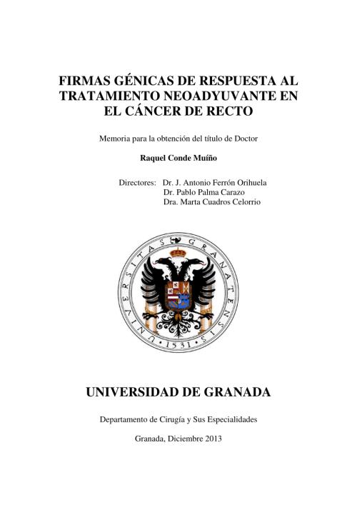 small resolution of  pdf firmas g nicas de respuesta al tratamiento neoadyuvante en el c ncer de recto doctoral thesis r conde university of granada 2014