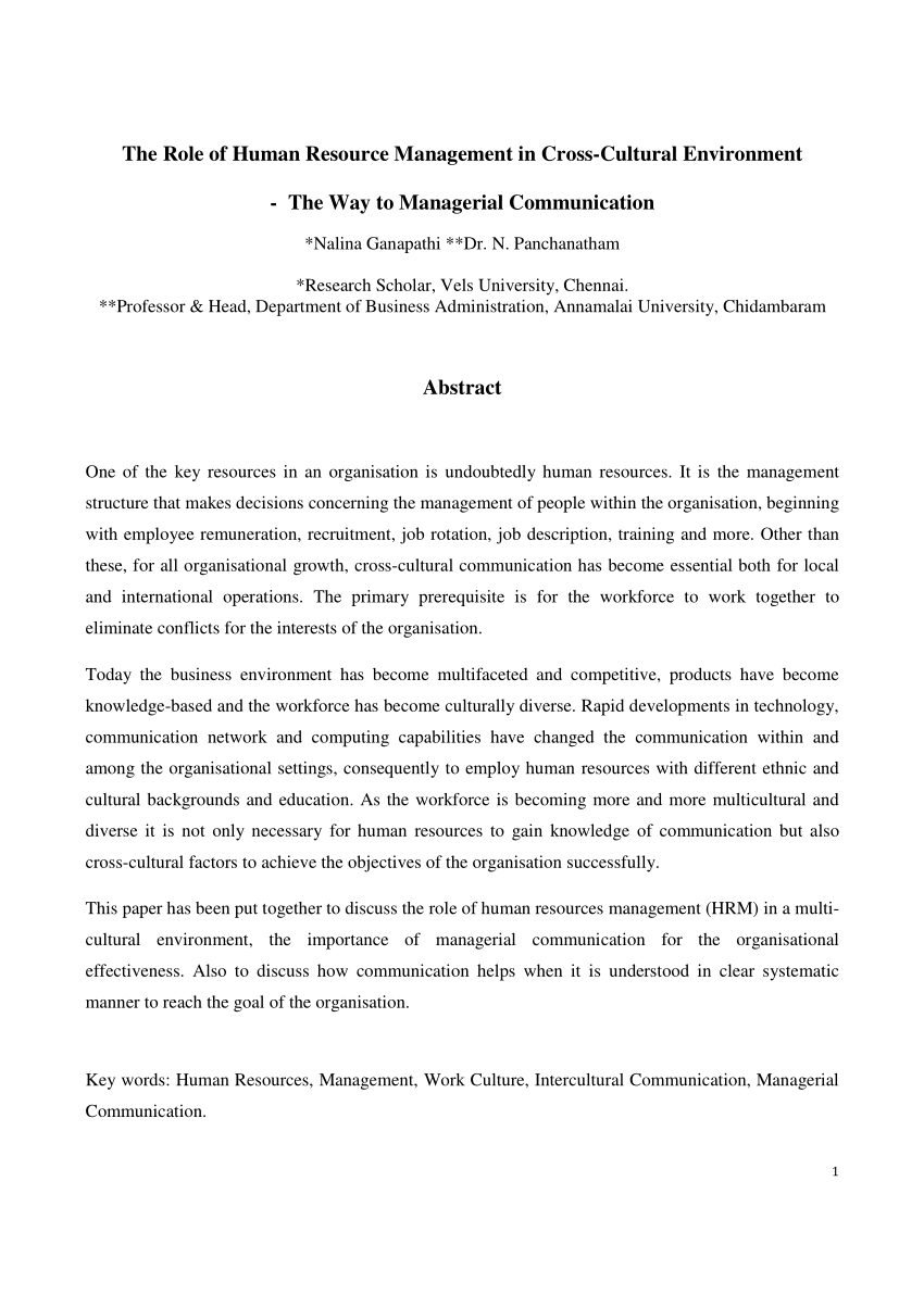 (PDF) The Role of Human Resource Management in Cross-Cultural Environment - The Way to Managerial Communication.