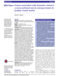 Pdf factors associated with domestic violence  cross sectional survey among women in jeddah saudi arabia also rh researchgate