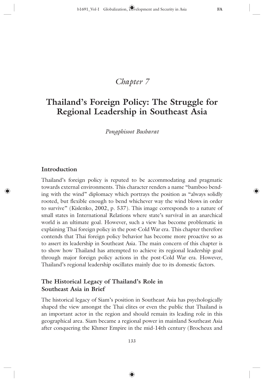 PDF Thailand's Foreign Policy The Struggle For Regional Leadership