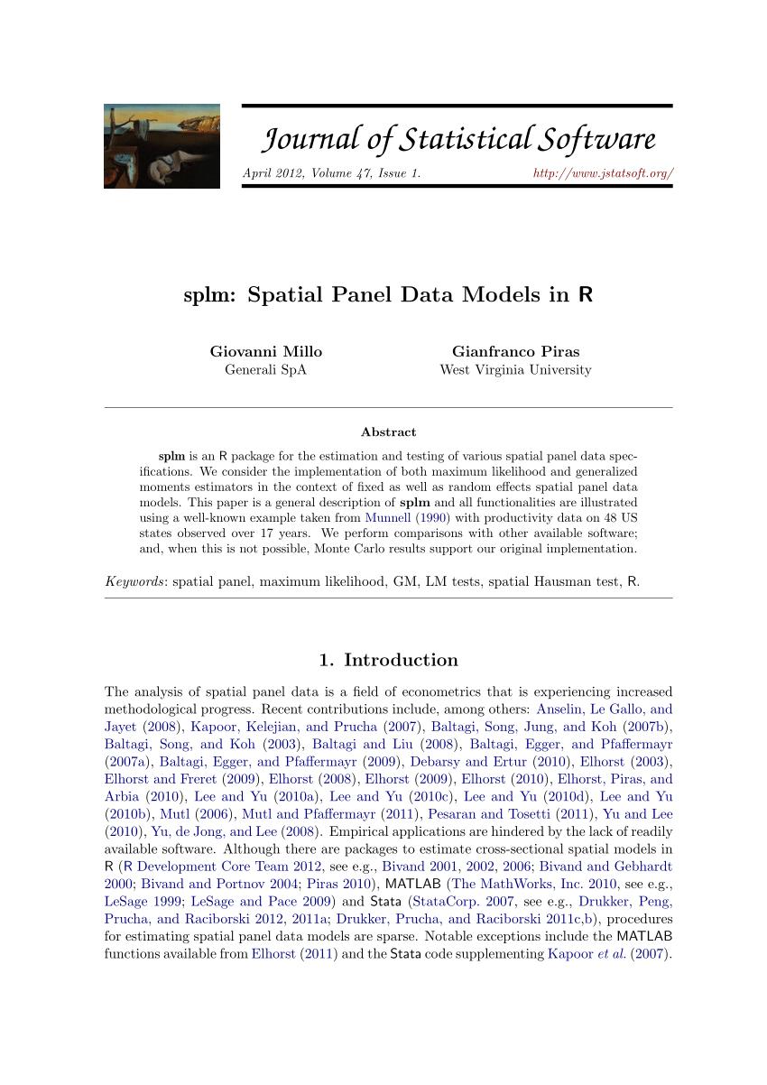 PDF Splm Spatial Panel Data Models In R