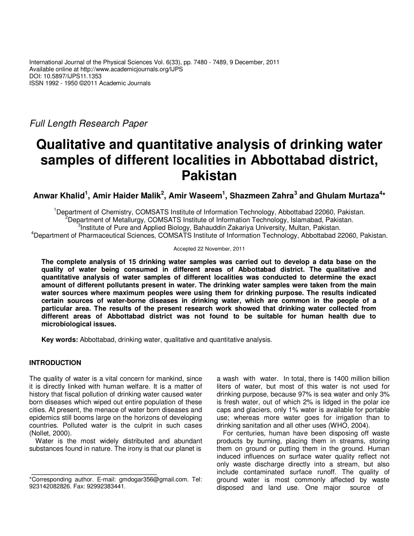 PDF Qualitative And Quantitative Analysis Of Drinking Water Samples