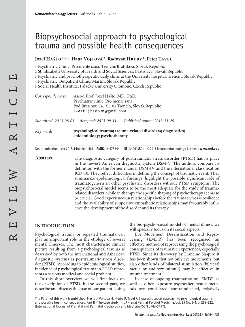 PDF Biopsychosocial approach to psychological trauma and