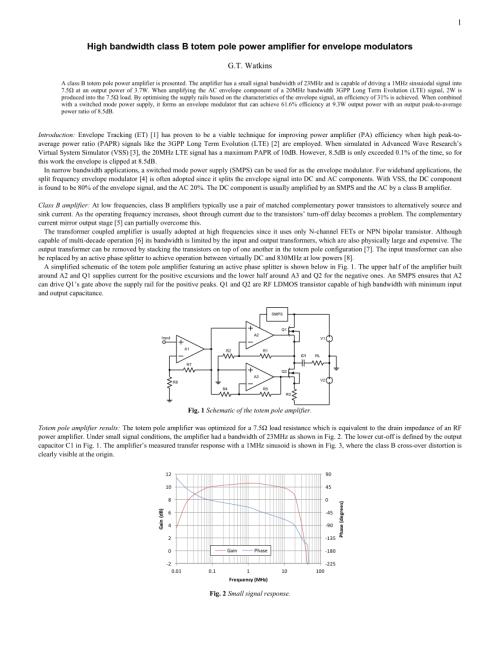 small resolution of  pdf high bandwidth class b totem pole power amplifier for envelope modulators