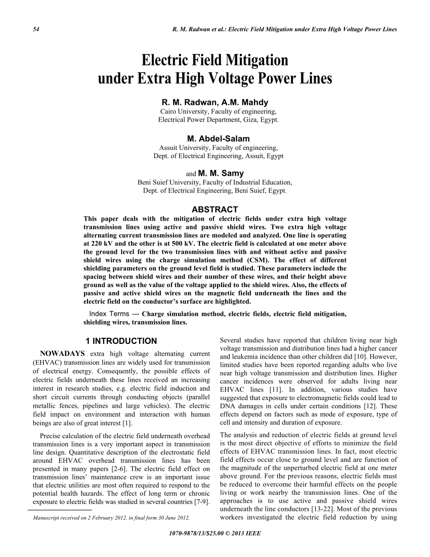 hight resolution of  pdf electric field mitigation under extra high voltage power lines