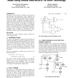 pdf implementation of full adder circuit using stack technique circuit diagram of full adder pdf [ 850 x 1202 Pixel ]