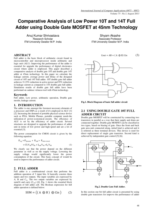 small resolution of pdf implementation of full adder circuit using stack technique circuit diagram of full adder pdf