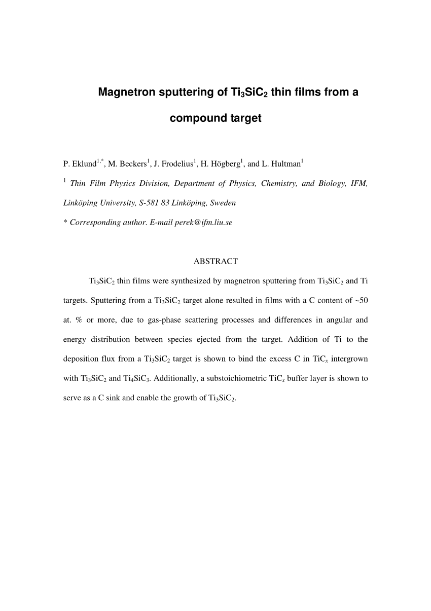 hight resolution of  pdf magnetron sputtering of ti3sic2 thin films from a compound target