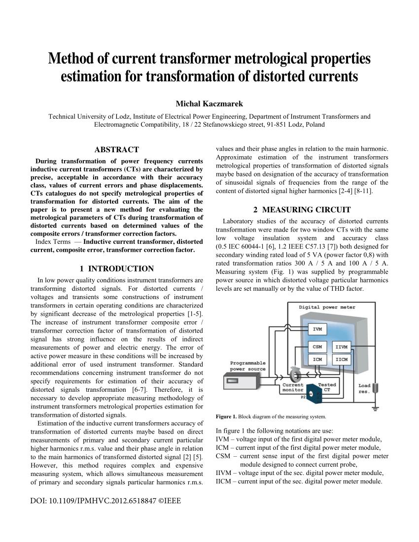 hight resolution of  pdf method of current transformer metrological properties estimation for transformation of distorted currents