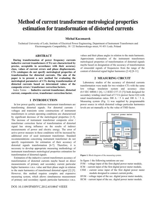 small resolution of  pdf method of current transformer metrological properties estimation for transformation of distorted currents