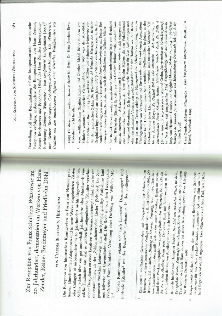 (PDF) Zur Rezeption von Franz Schuberts »Winterreise« im
