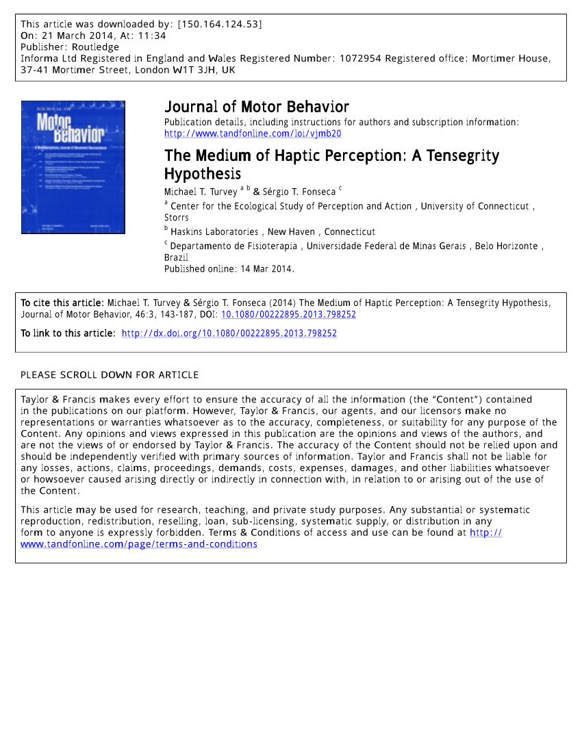 medium resolution of  pdf the medium of haptic perception a tensegrity hypothesis