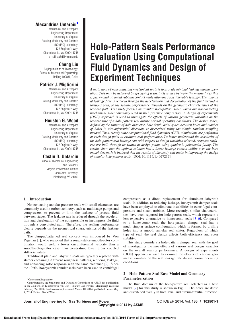 (PDF) Hole-Pattern Seals Performance Evaluation Using